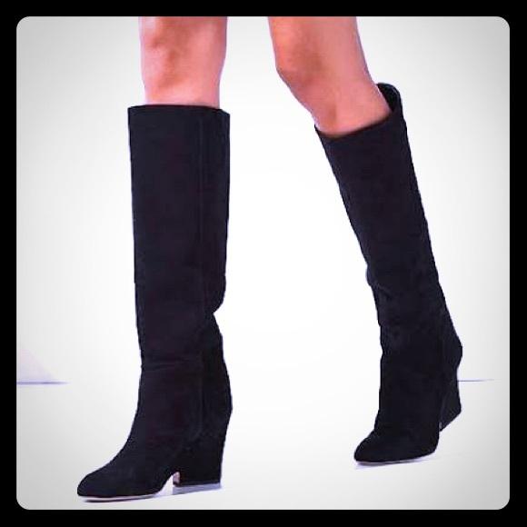 802bd755b08 Sam Edelman Black Suede Wedge Knee High Boots. M 5b8125e8cdc7f7c9f2617131